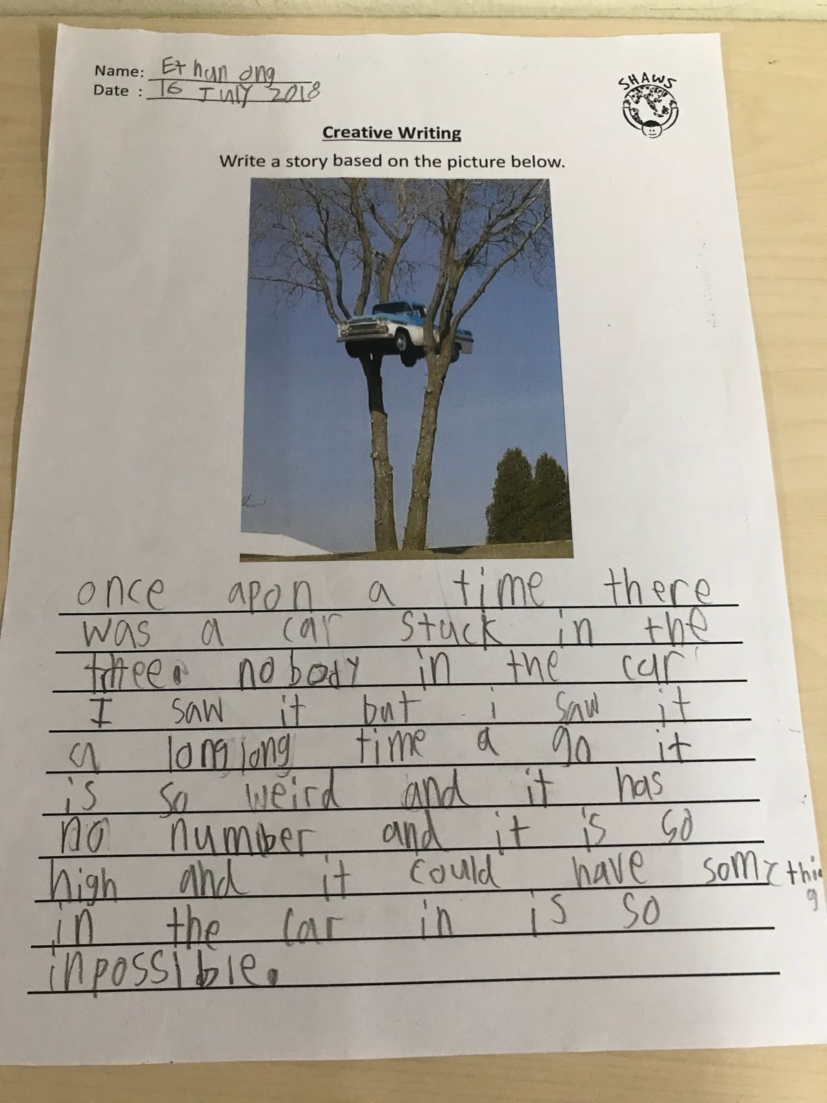 shaws preschool child writing